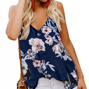 Tops - Floral Button Down Spaghetti Strap Shirt